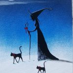 Journey to Christmas Witchy Wonderland 5 x 7 Painting