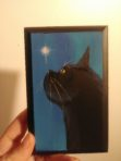 Black Kitty on Small Blue Wood Painting