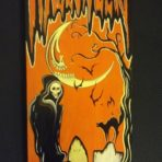 Death Halloween Banner Wood Painting